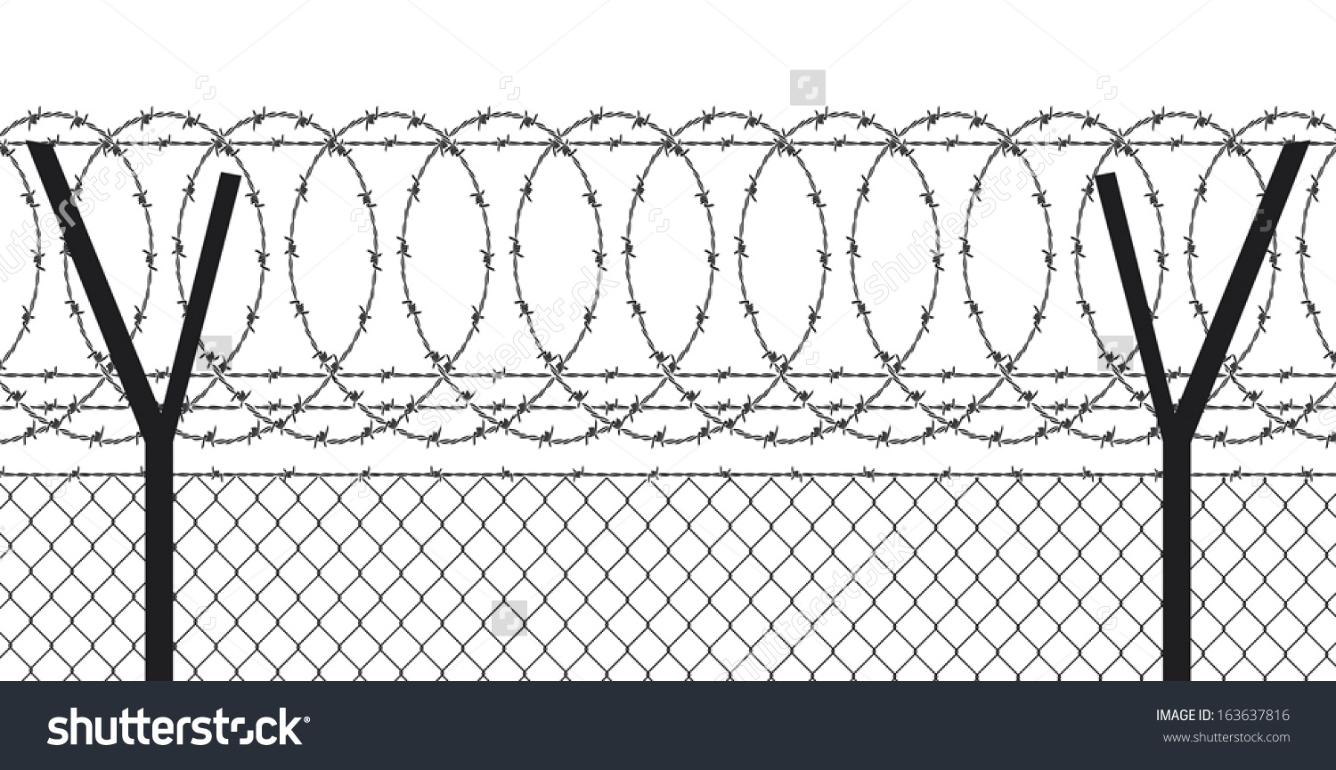 Barbed Wire Fence Stock Vector 163637816.