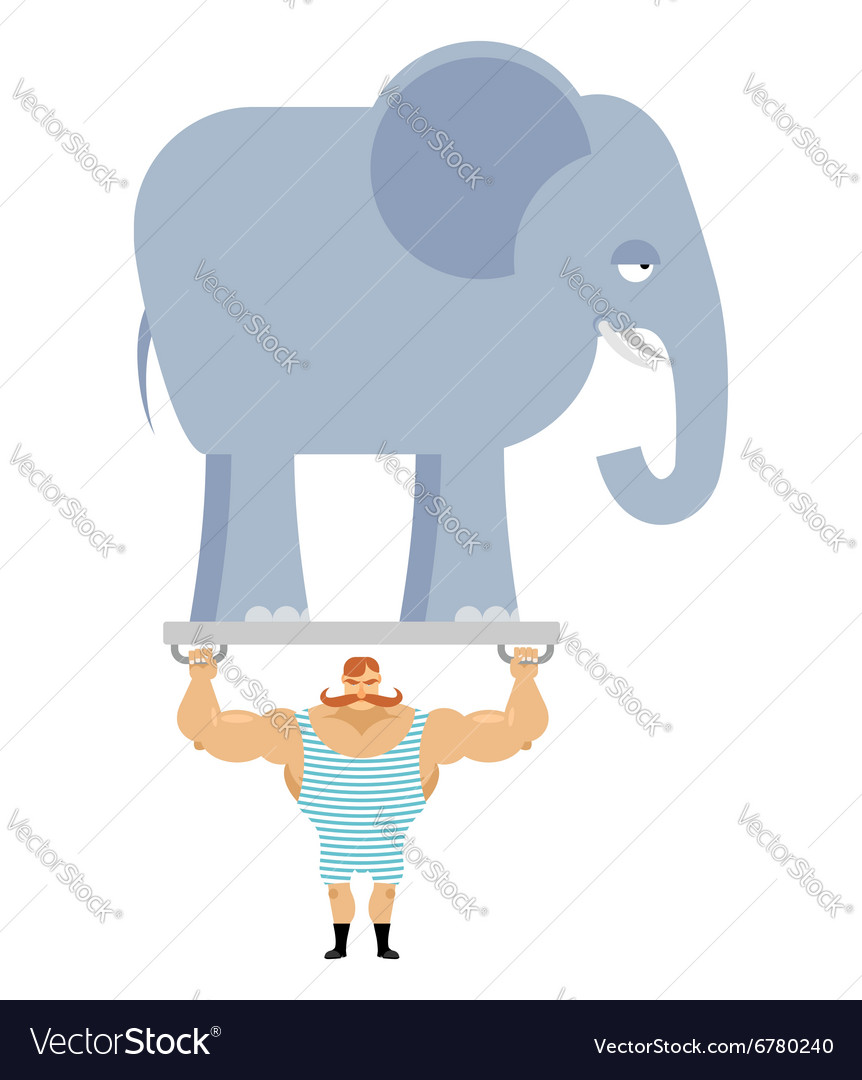 Ancient athlete and elephant Vintage circus.