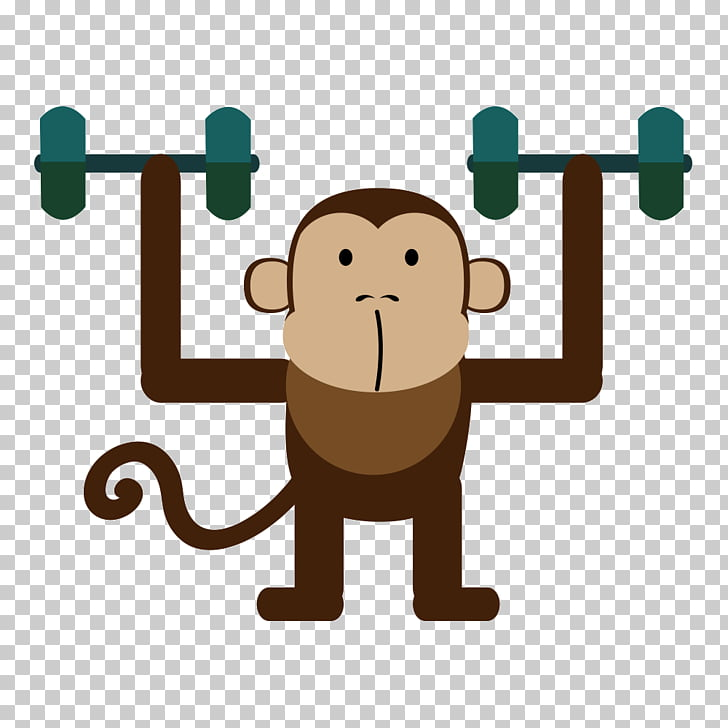 Logo, Barbell monkey PNG clipart.
