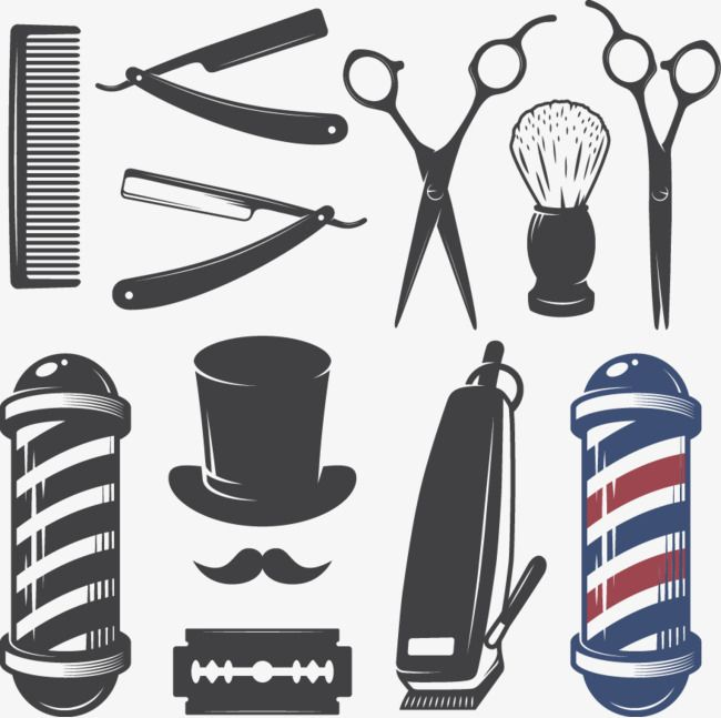 Vector Barber Tools, Barber Tools, Scissors, Comb PNG.