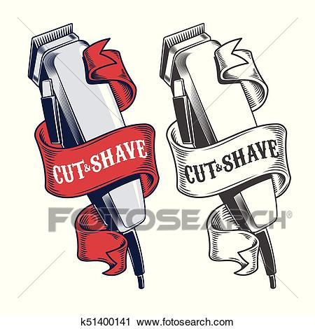 Electric hair clippers engraved style vector Clipart.