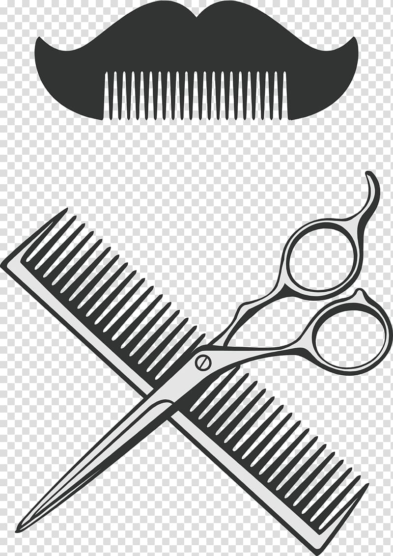 Scissor and hair comb illustration, Comb Scissors Barber, Barber.