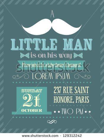baby shower boy/little man invitation template vector/illustration.