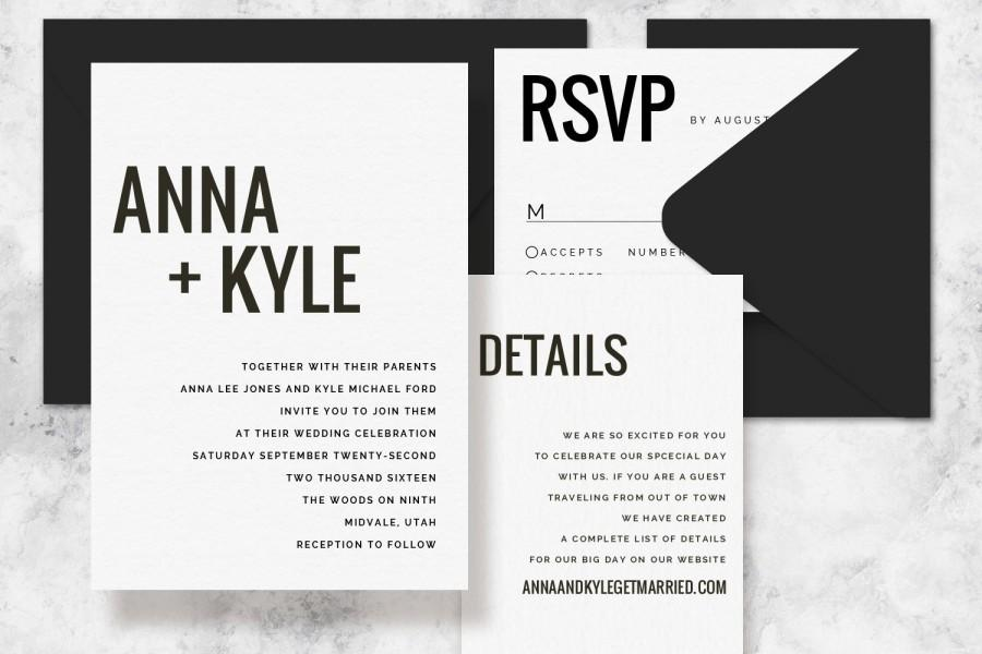 Wedding Invitation Templates Printable, Wedding Modern Minimalist.