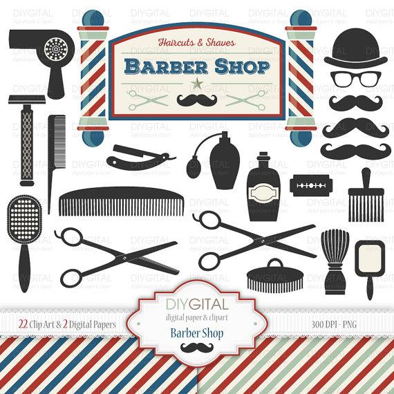 Barber Shop Clip Art Set.