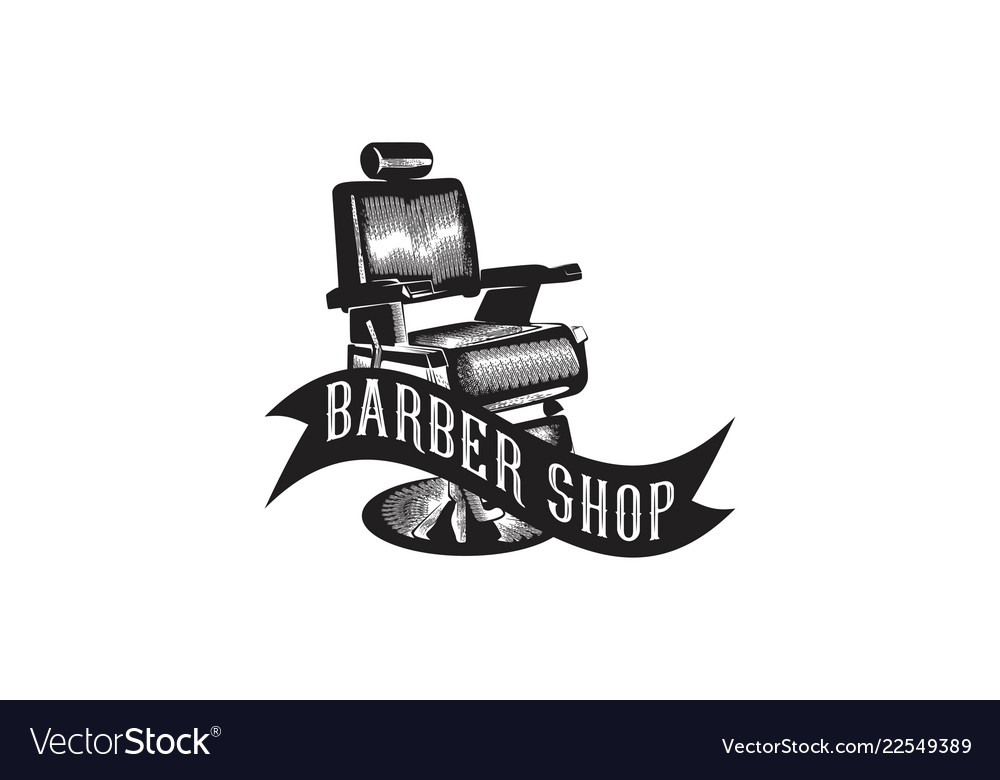 Vintage hand drawn chair barber shop logo designs.