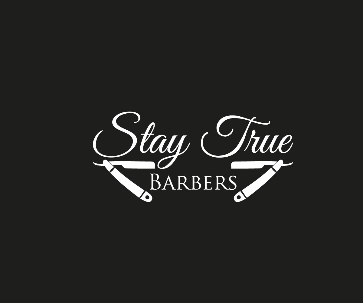 Elegant, Playful, Barber Logo Design for Stay True Barbers.