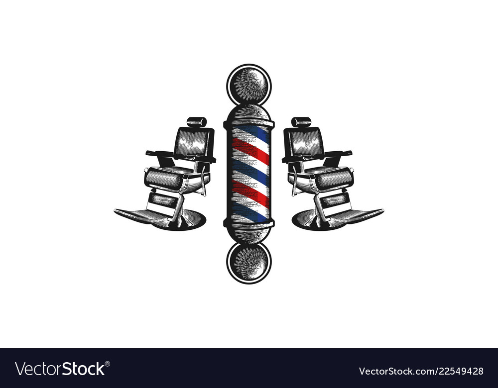 Hand drawn barber pole and chair logo designs.