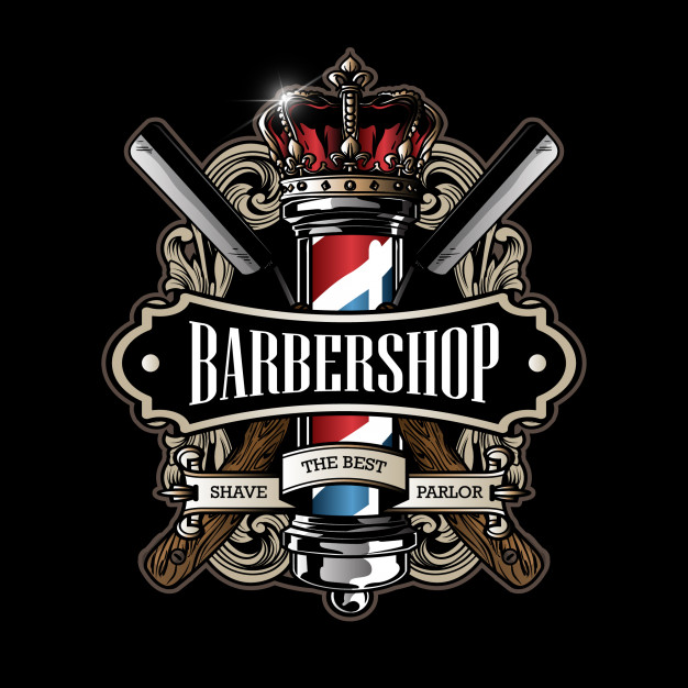 Barber pole logo Vector.
