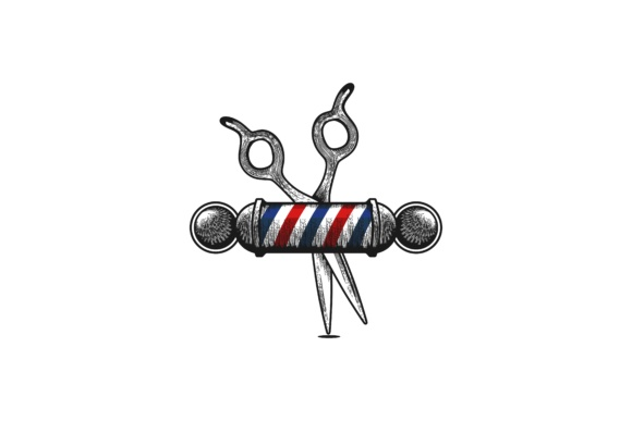 Scissor and Barber pole, Hand drawn barber shop Logo.