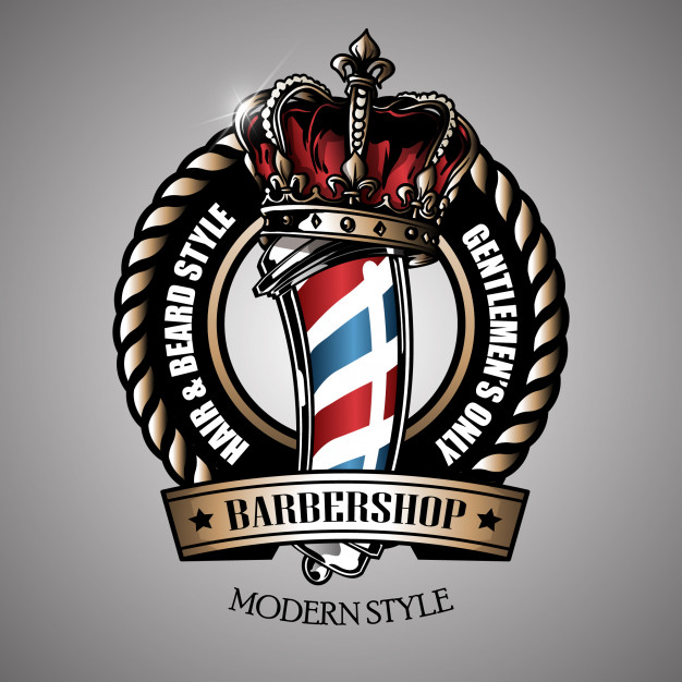 Retro barber pole logo Vector.
