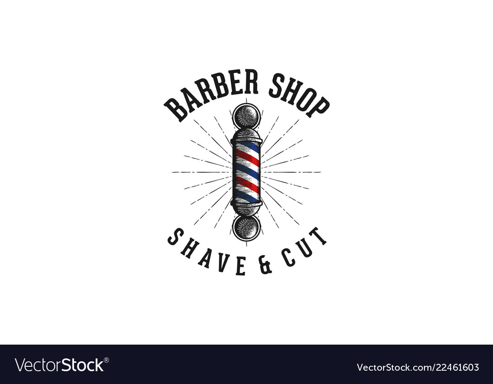 Barber pole vintage barber shop logo.