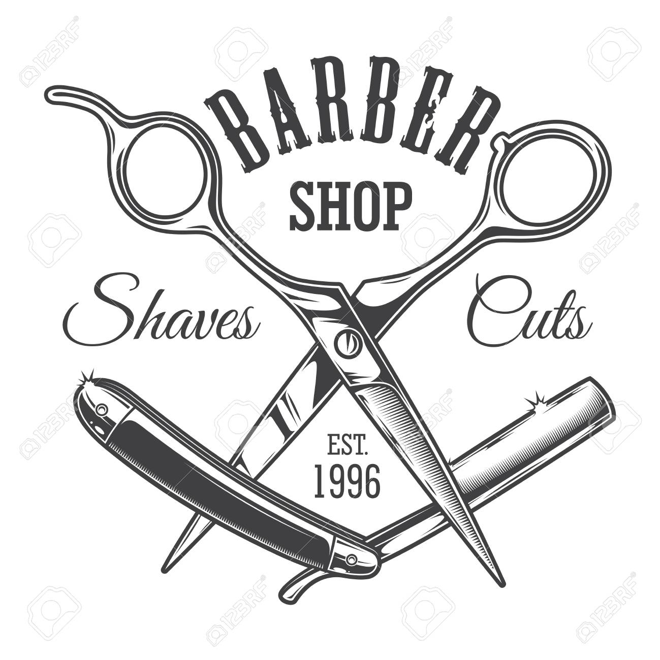 Vintage hairdresser salon label with barber scissors and razor...