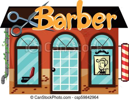 Exterior of barber shop.