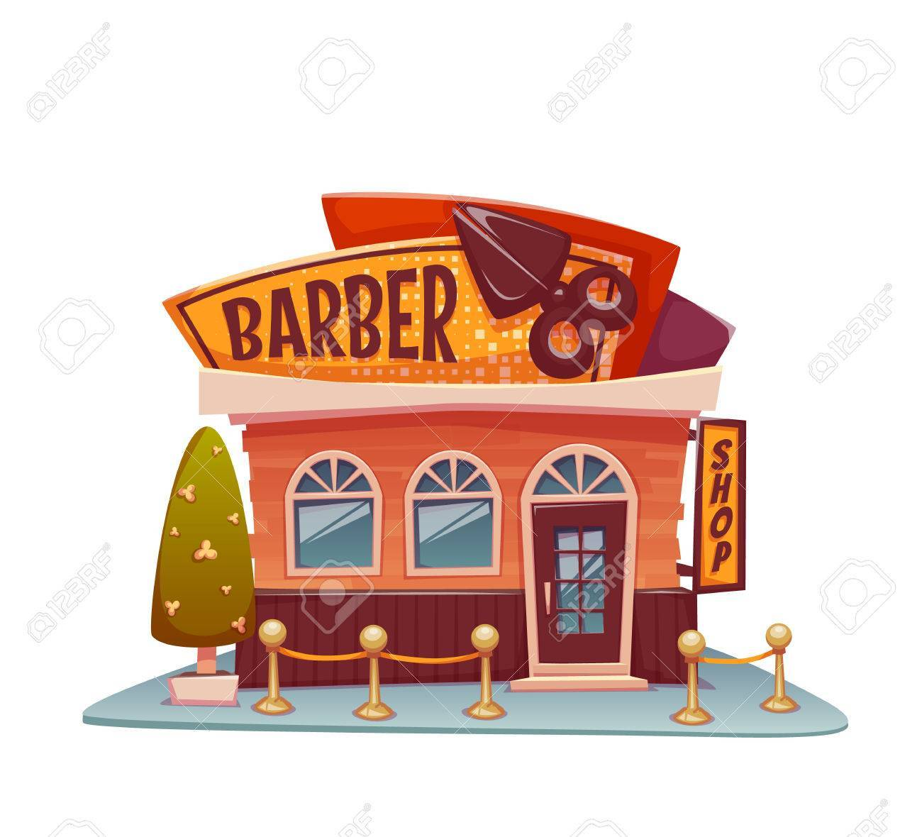 Barber shop building with bright banner. Vector illustration.