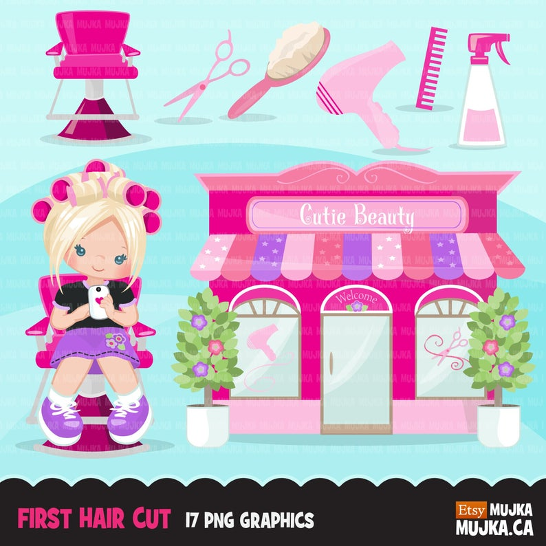 Hair styling clipart. My first haircut, barber shop graphic, hair dryer,  hairsalon, brush illustration, commercial use clip art, beauty shop.