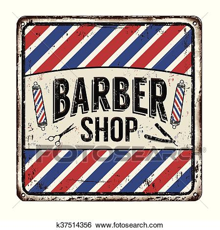 Barber shop rusty metal sign Clip Art.
