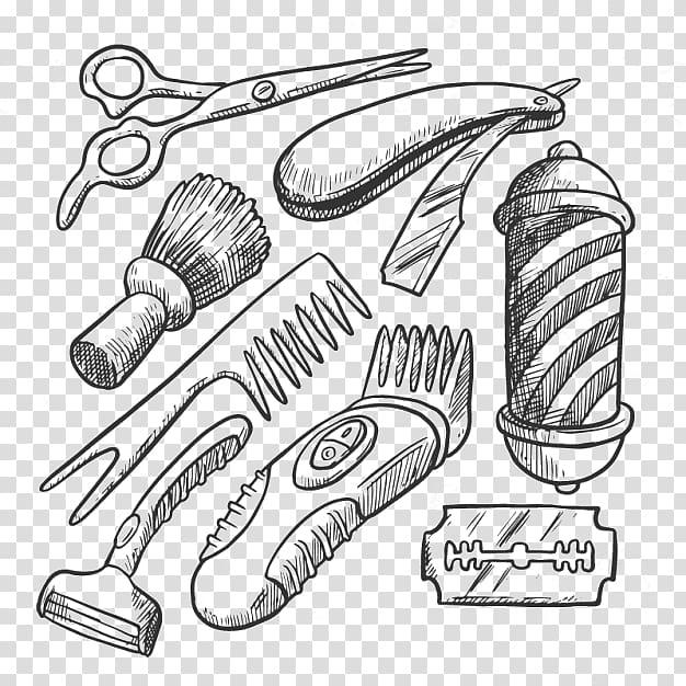 Barber\'s tool set illustration, Barbershop Barbers pole.