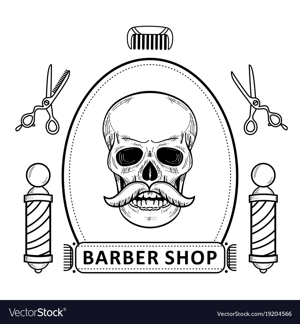 Black and white set of outlined barbershop items.
