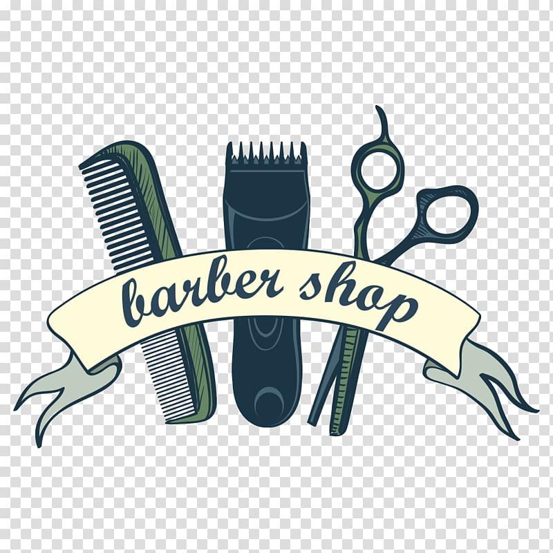 Barber Shop logo, Comb Hair clipper Barber Scissors.