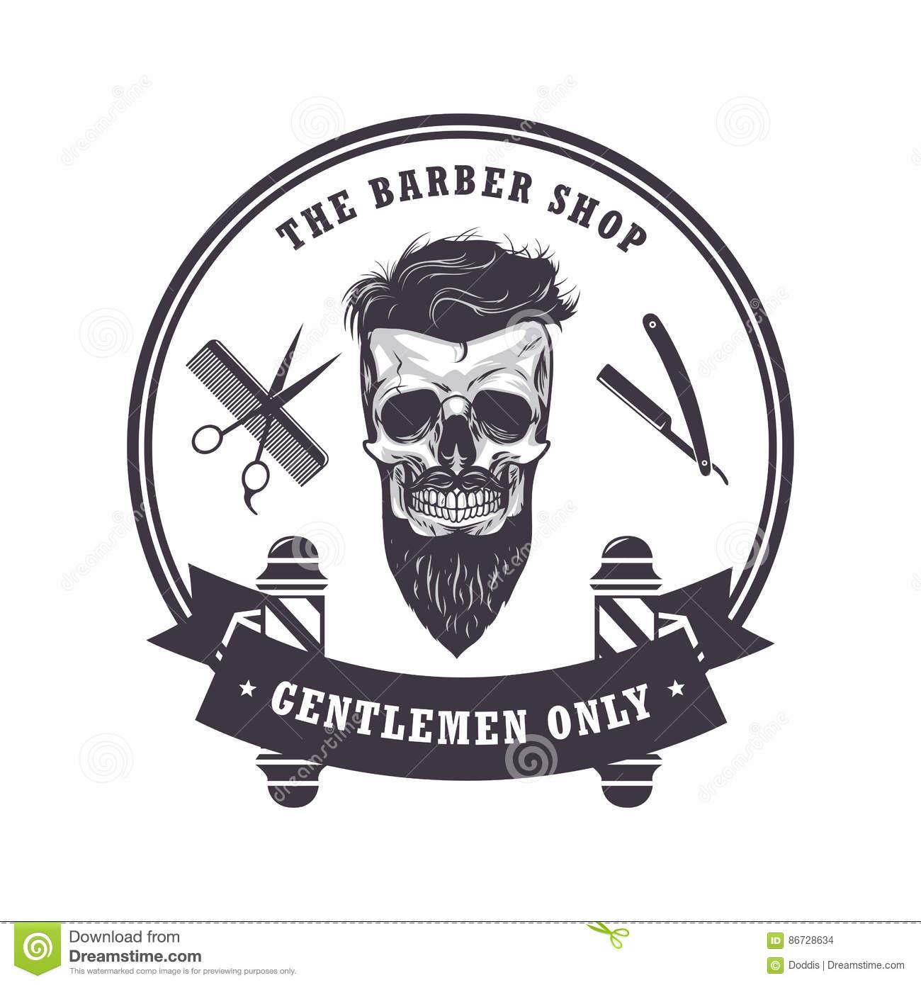 Skull Barber Shop Logo Retro VIntage Design Template. Vector.