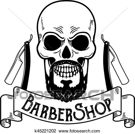 Vector Barbershop emblem, barbershop logo or badge for barber shop  signboard, posters Skull with blades and hipster beard and haircut Clipart.
