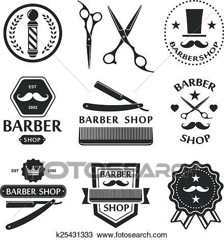 Barber shop logo, labels, badges vintage Clipart.
