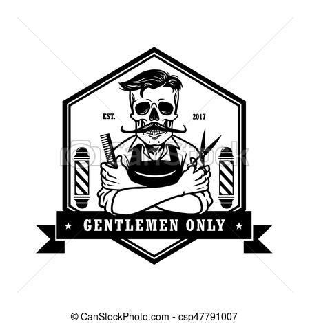 Skull Vintage Barbershop Logo Template.