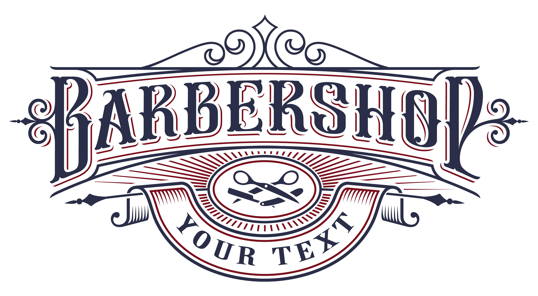 Barbershop logo design on the white background..