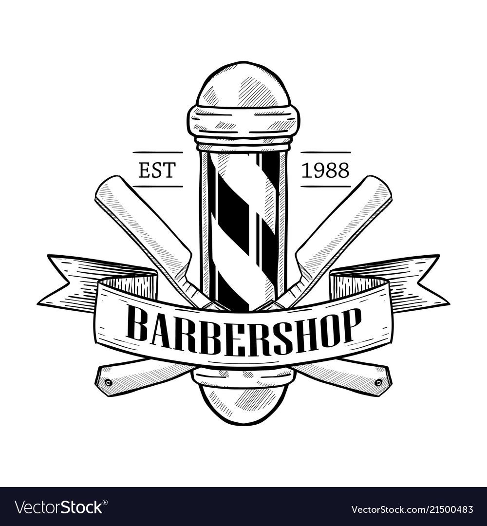 Barbershop logo with dangerous razor.
