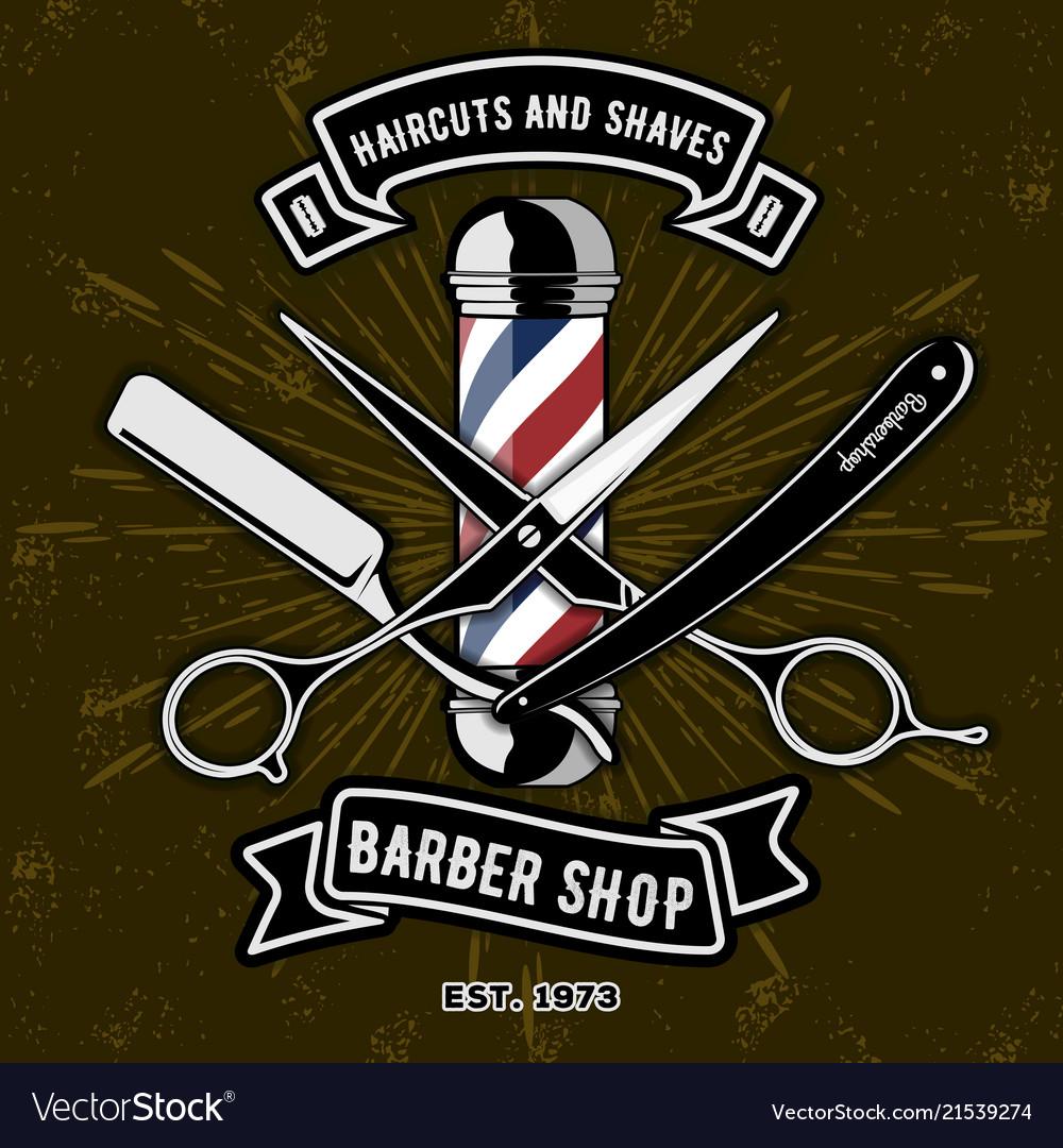 Barber shop logo with barber pole.