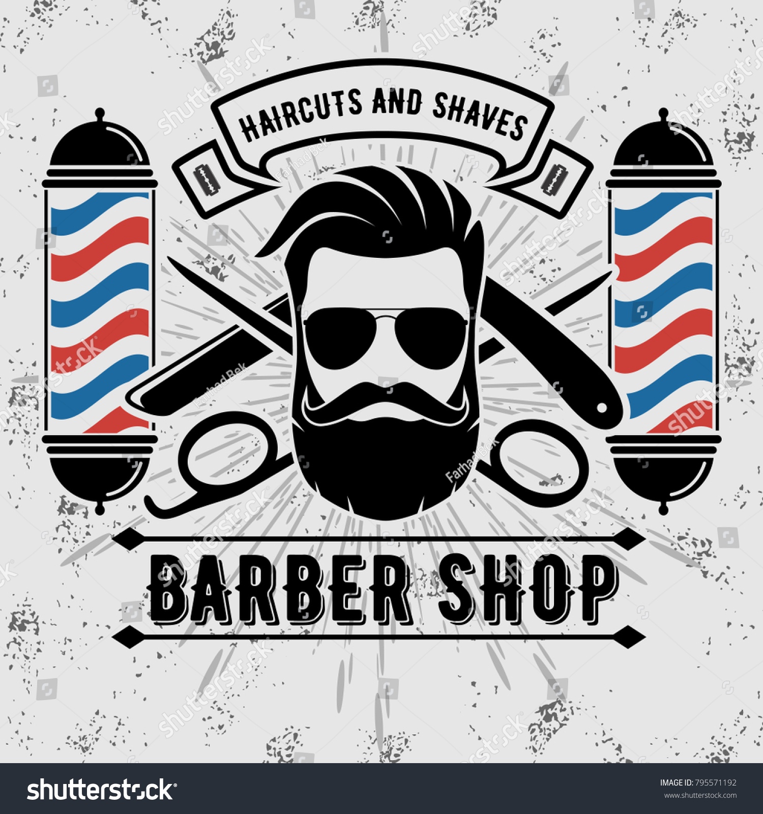 Barbershop Logo Barber Pole Vintage Style Stock Vector (Royalty Free.