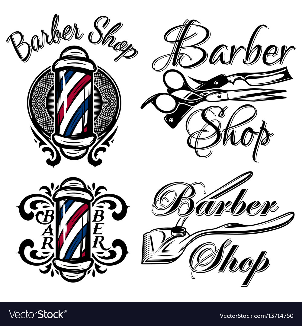 Set of retro barber shop logo isolated on the.