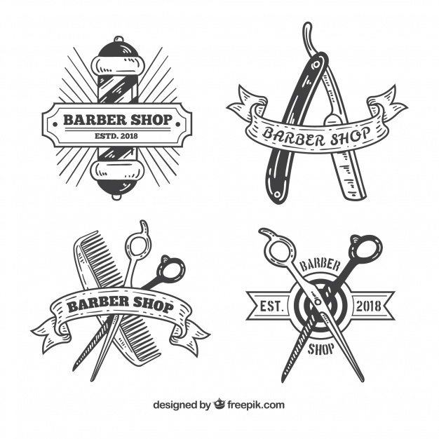 Vintage barber shop logos Vector.