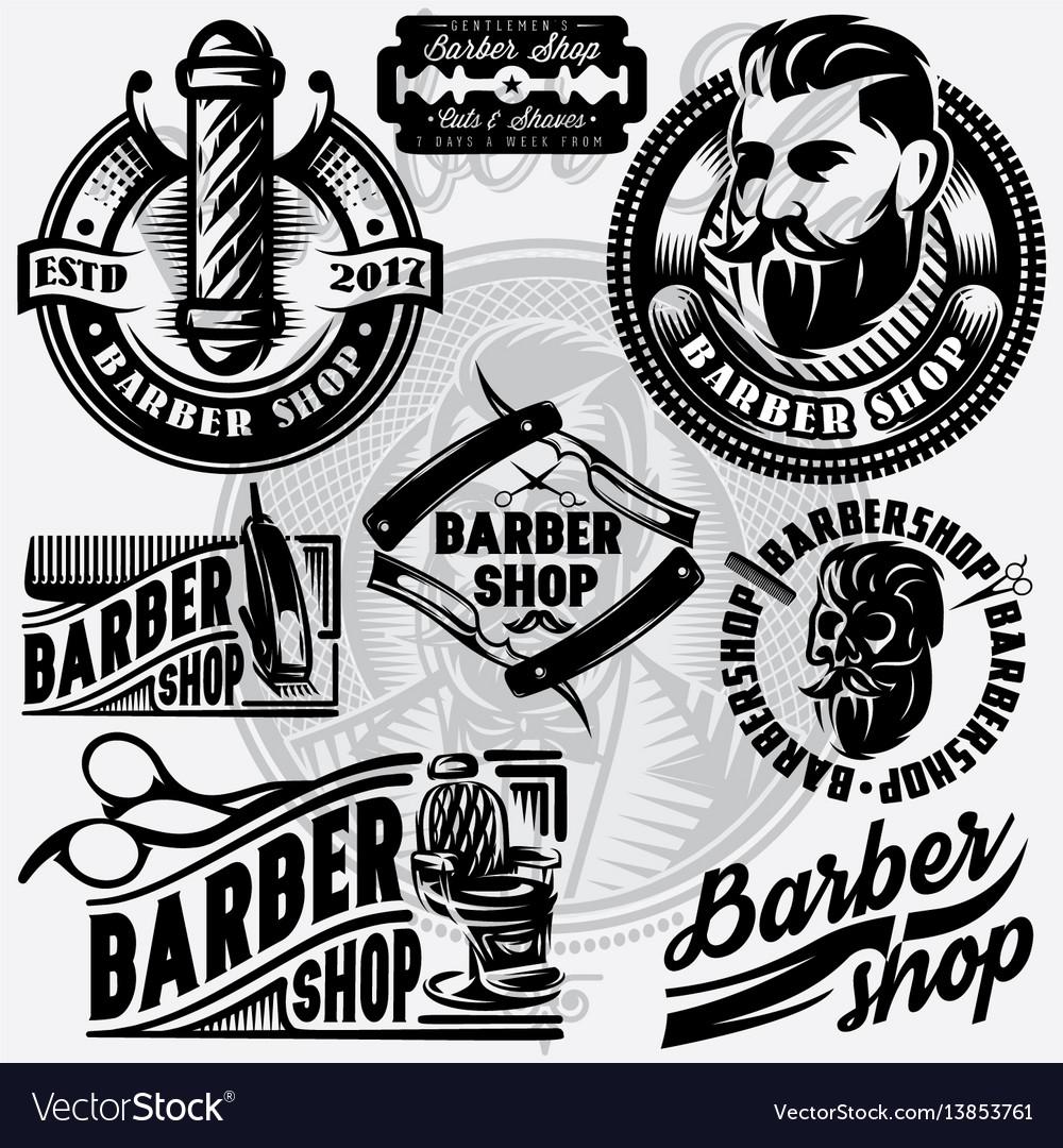 Set of templates for barbershop barbershop logo.