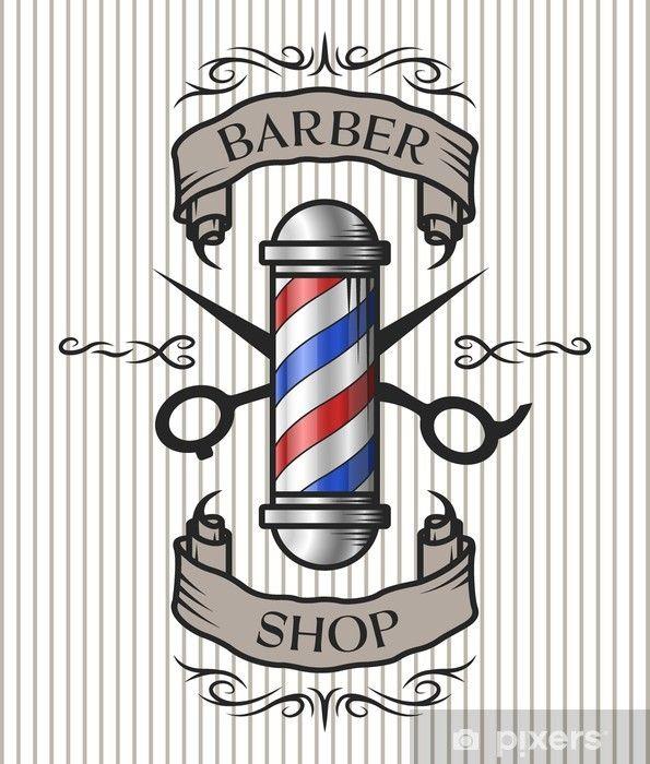 Barber shop emblem. Wall Mural • Pixers®.