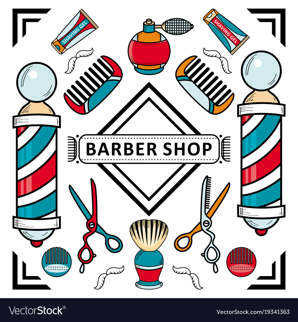 Flat barber shop poster with tools icon.