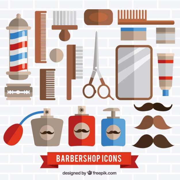 Barber shop tools pack in flat style Vector.
