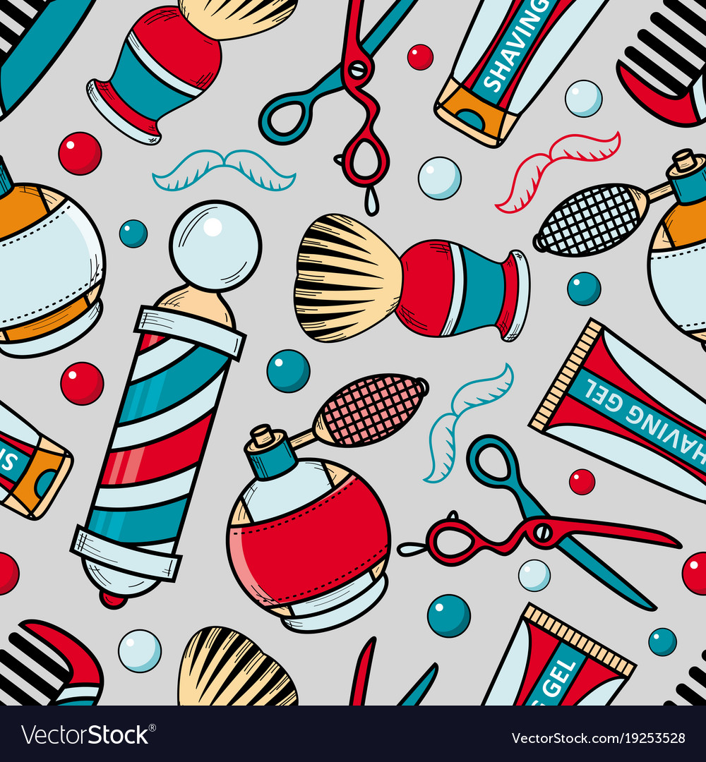 Cartoon seamless pattern with barber tools.