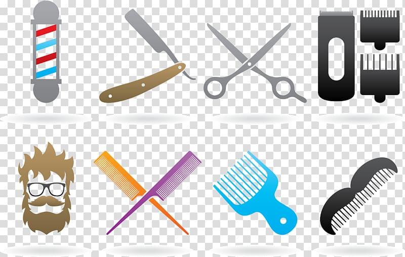 Assorted barber\'s illustration collage, Comb Scissors Logo.