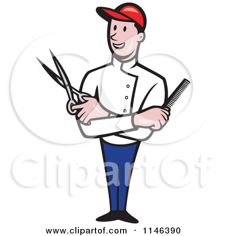 Clipart of a Retro Male Barber Holding Clippers in a Half Red and.