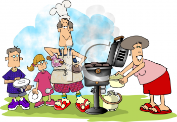Royalty Free Clipart Image of a Family Having a Barbeque.