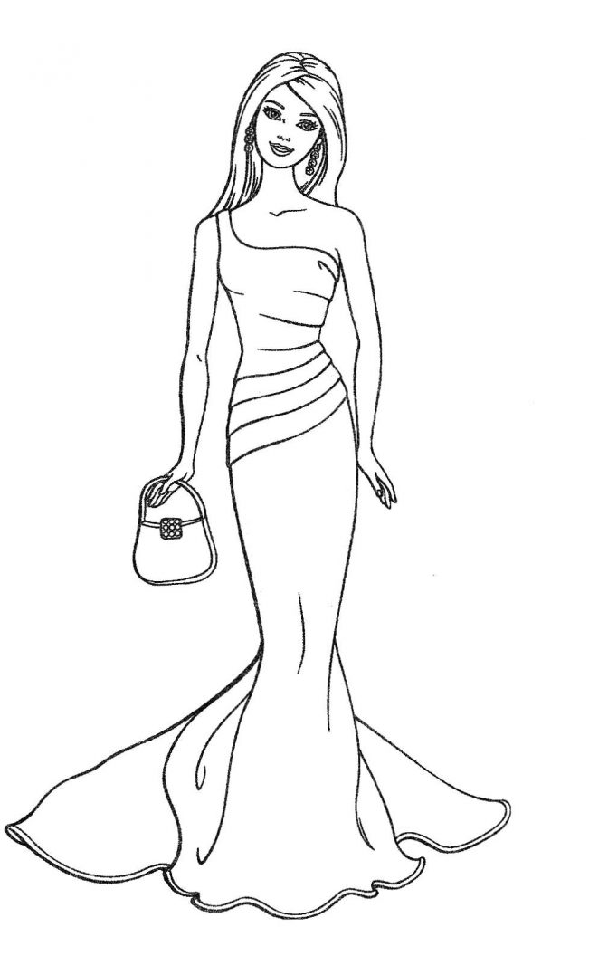 color pages ~ Barbie Clipart Drawing Astonishingk And White.