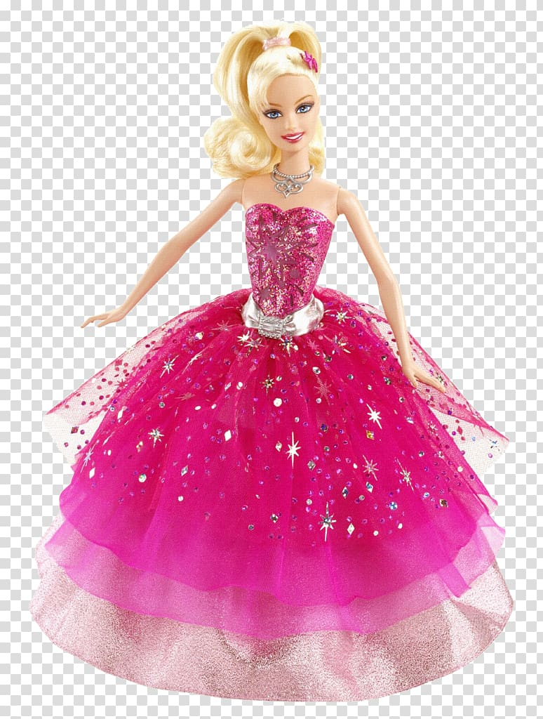 Barbie doll wearing pink and silver ballgown, Barbie: A.