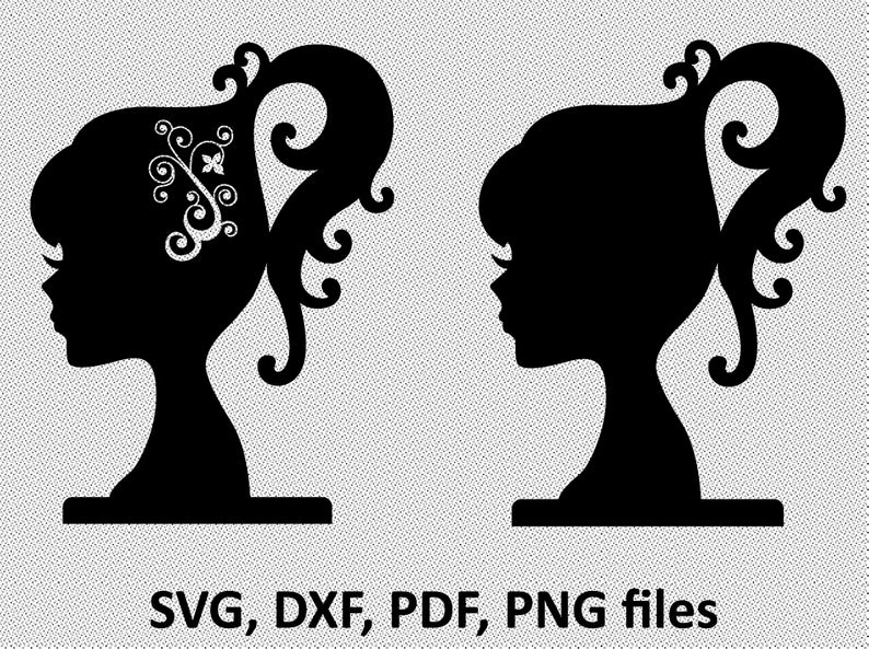 Barbie doll head silhouette svg, barbie doll head clipart cut files for  cricut silhouette, svg, dxf, svg.