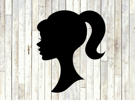 Barbie doll head silhouette svg, barbie doll head clipart cut files for  cricut silhouette, svg, dxf, eps, svg.