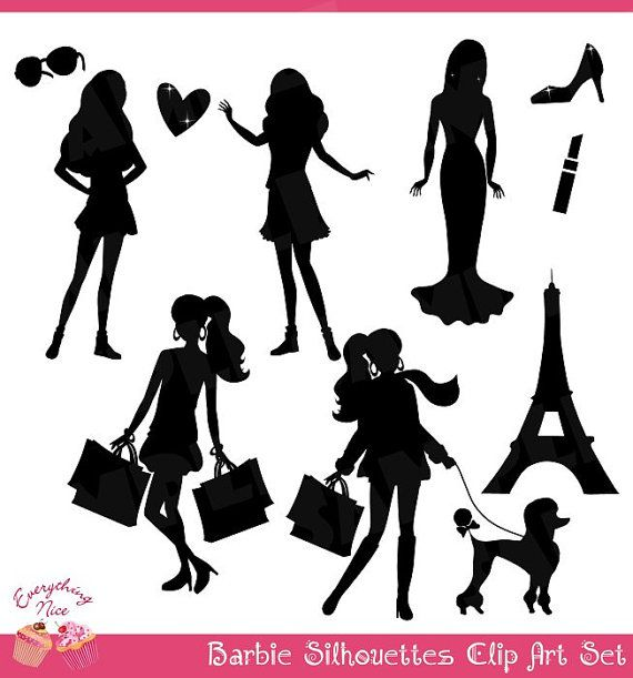 Barbie+Black+Silhouettes+Clip+Art+Set+by+1EverythingNice+on+Etsy,+$.