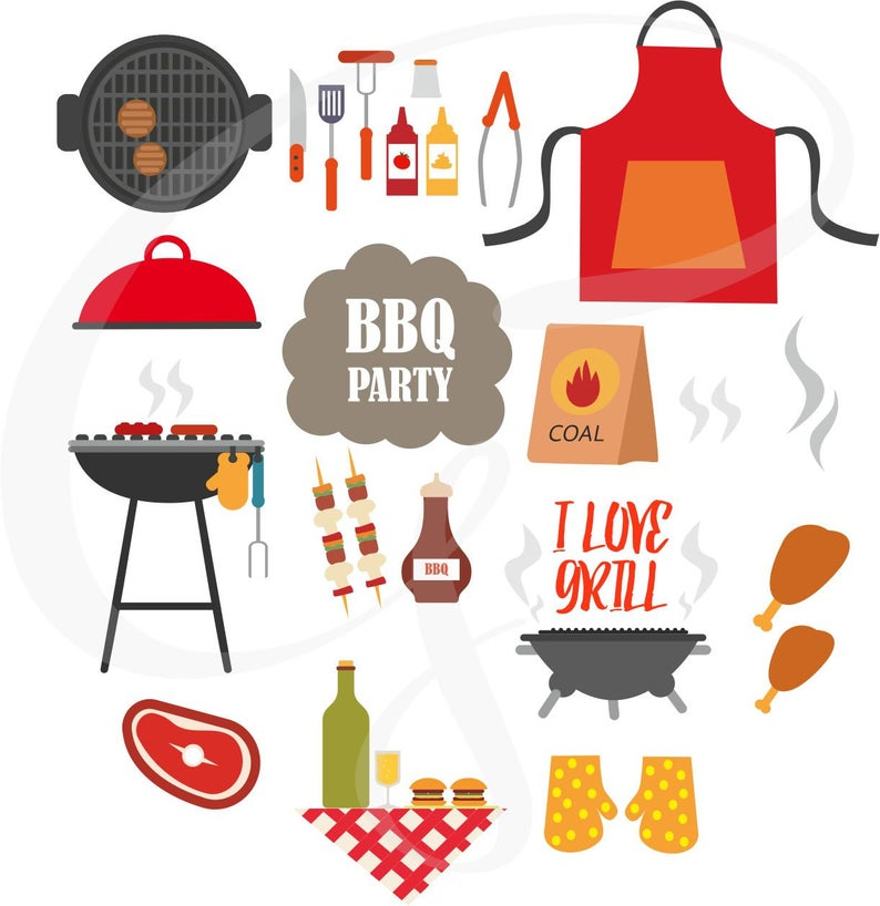 Bbq Clipart, Bbq Graphics, Outdoor Barbecue Clipart Set, Invitation,  Barbecue and Grill Clipart, Commercial use, Personal Use.