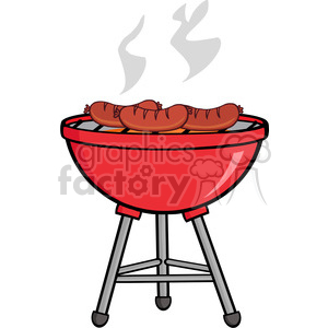 Grilled Sausages On Barbecue clipart. Royalty.