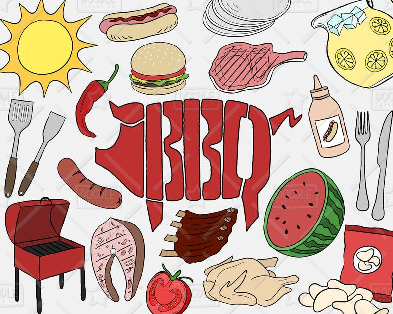 Barbecue Clipart Vector Pack, BBQ Clipart, Grill Clipart, Burger Clipart,  Dinner Clipart, Planner Clipart, BBQ Sticker, SVG, png file.
